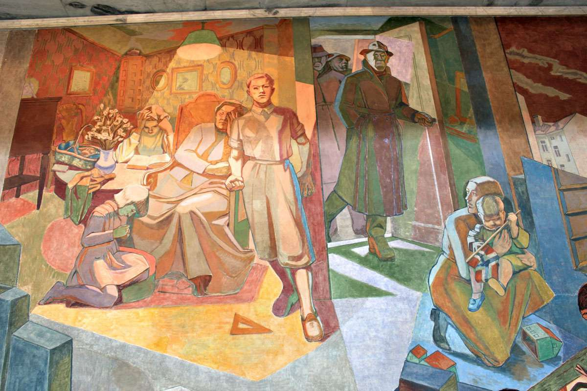 Oslo City Hall has a powerful & compelling series of murals about the Nazi Occupation. Photo: Meg Pier