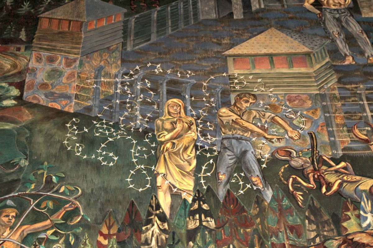Per Krohg's fresco in Olso City Hall's East Gallery conjures scenes from the Nazi occupation of Norway. Photo: Meg Pier