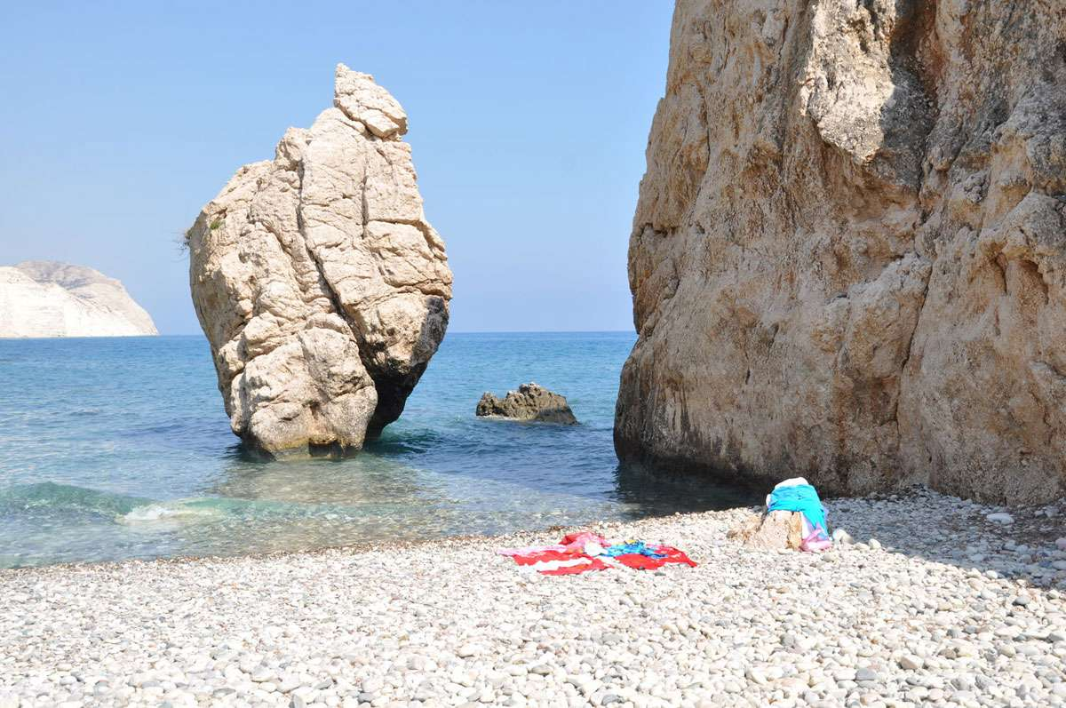 The Greek name for the site, Petra tou Romiou, refers to a Byzantine hero who is said to have hurled the giant rock at invading Saracens.