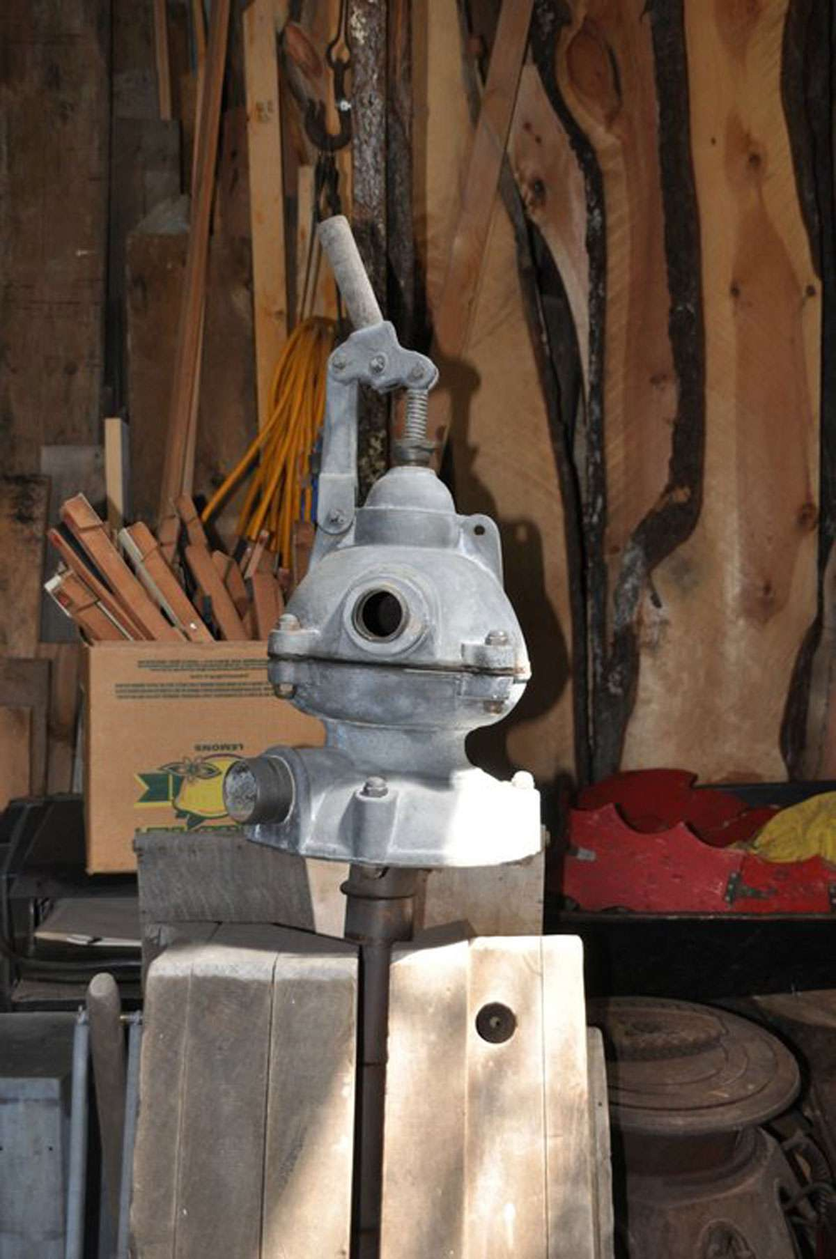 Peter's creations are made of cast-off items ranging from pieces of a pickup truck to a bilge pump. Photo: Meg Pier