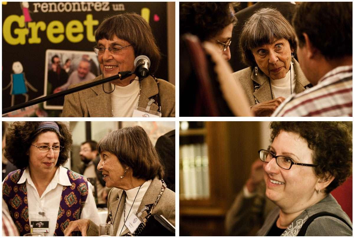 Lynn Brooks (upper left hand corner) and Gail Morse (lower right hand corner) at an international networking event in Pas-de-Calais. Photos: Diana Hounslow