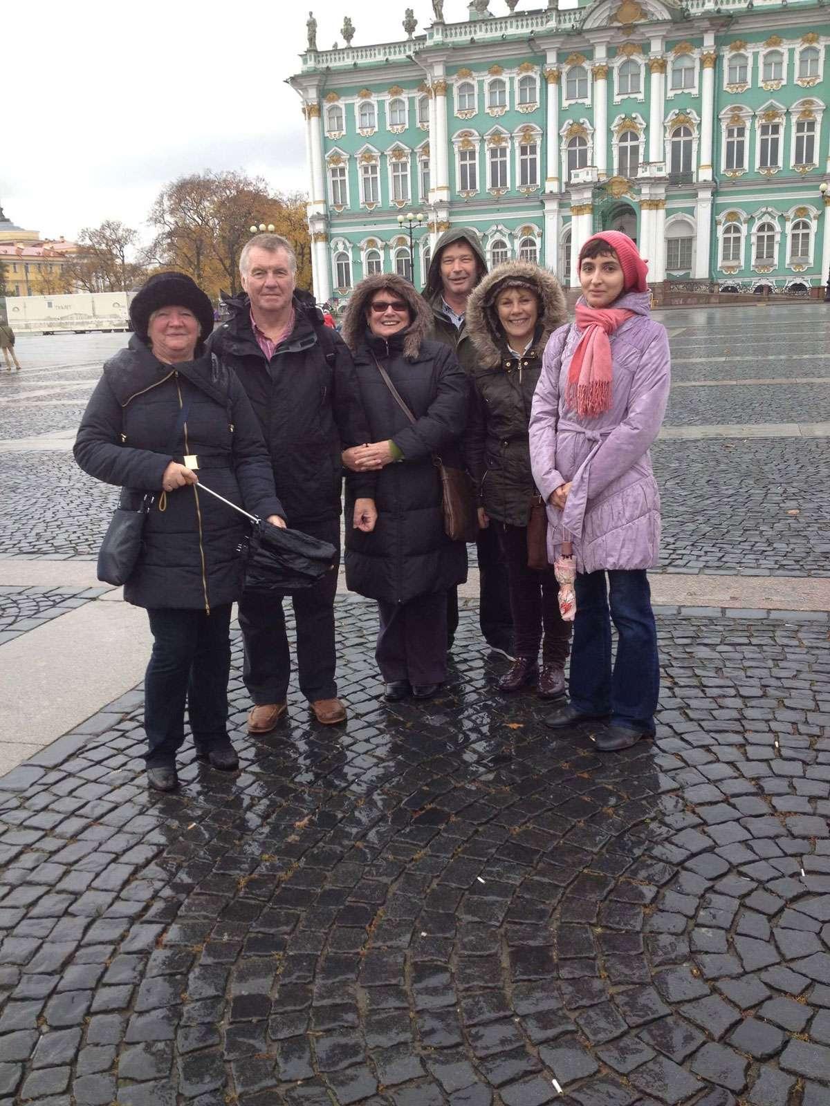 Arina Vorobeva (far right) with tourists from Great Britain. Photo: Arina Vorobeva