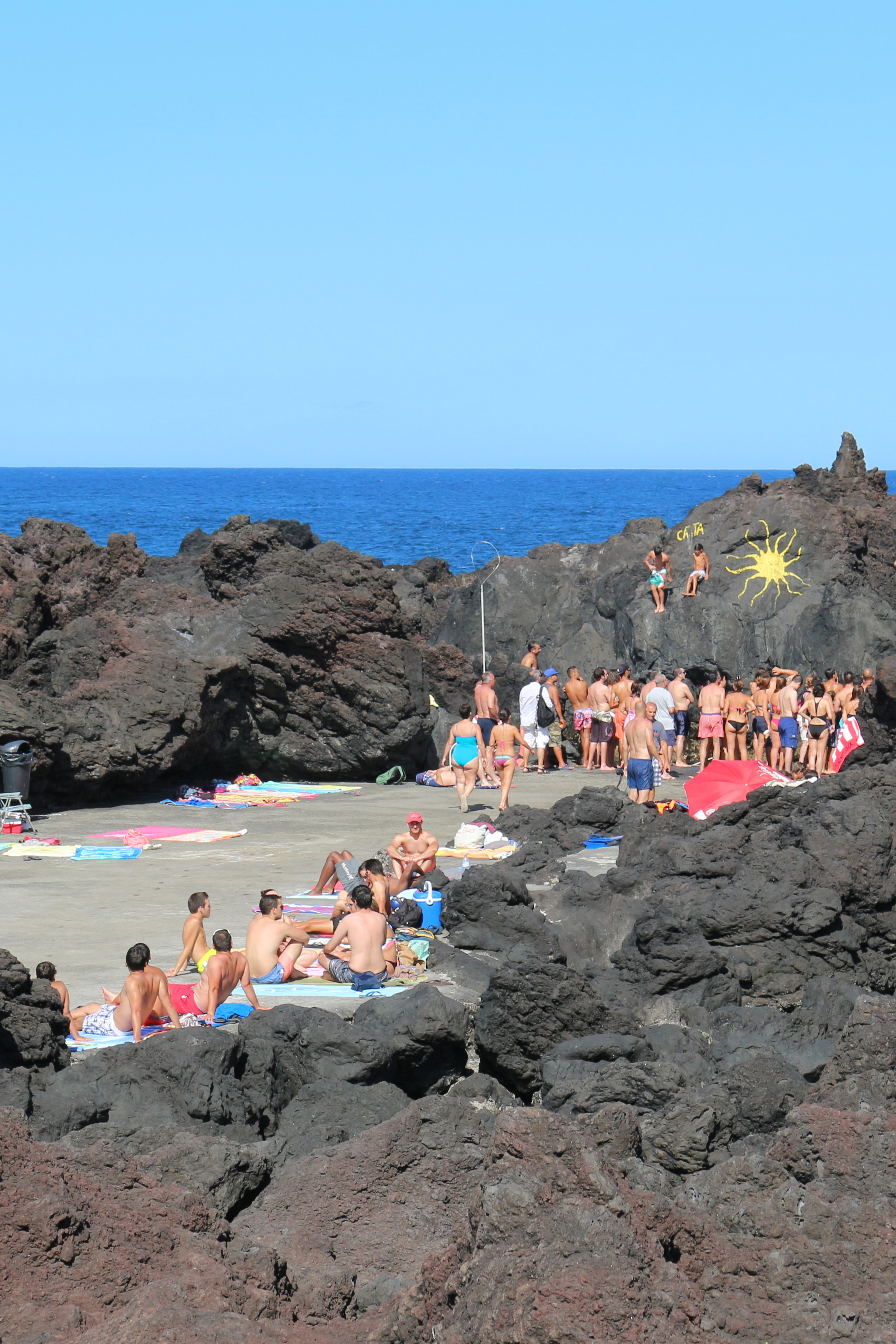 The other-worldly black lava beach of Biscoitos on the island of Terceira
