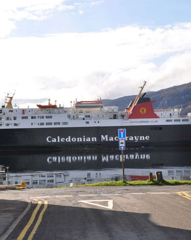 View of Cal Mac ferry on Loch Broom