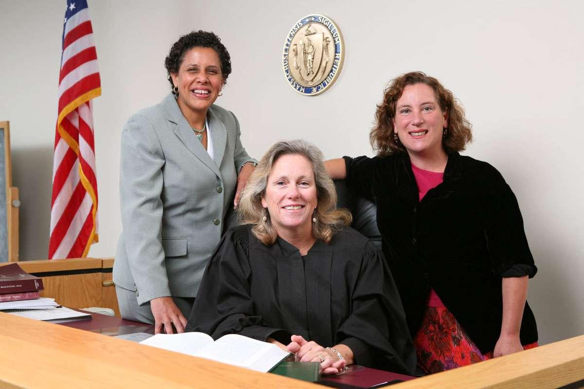 Berkshire County Probation officer Nancy Macauley (retired), Juvenile Court Judge Locke and Ronna Tulgan Ostheimer, Director of Education Programs. Photo: Clark Art Institute