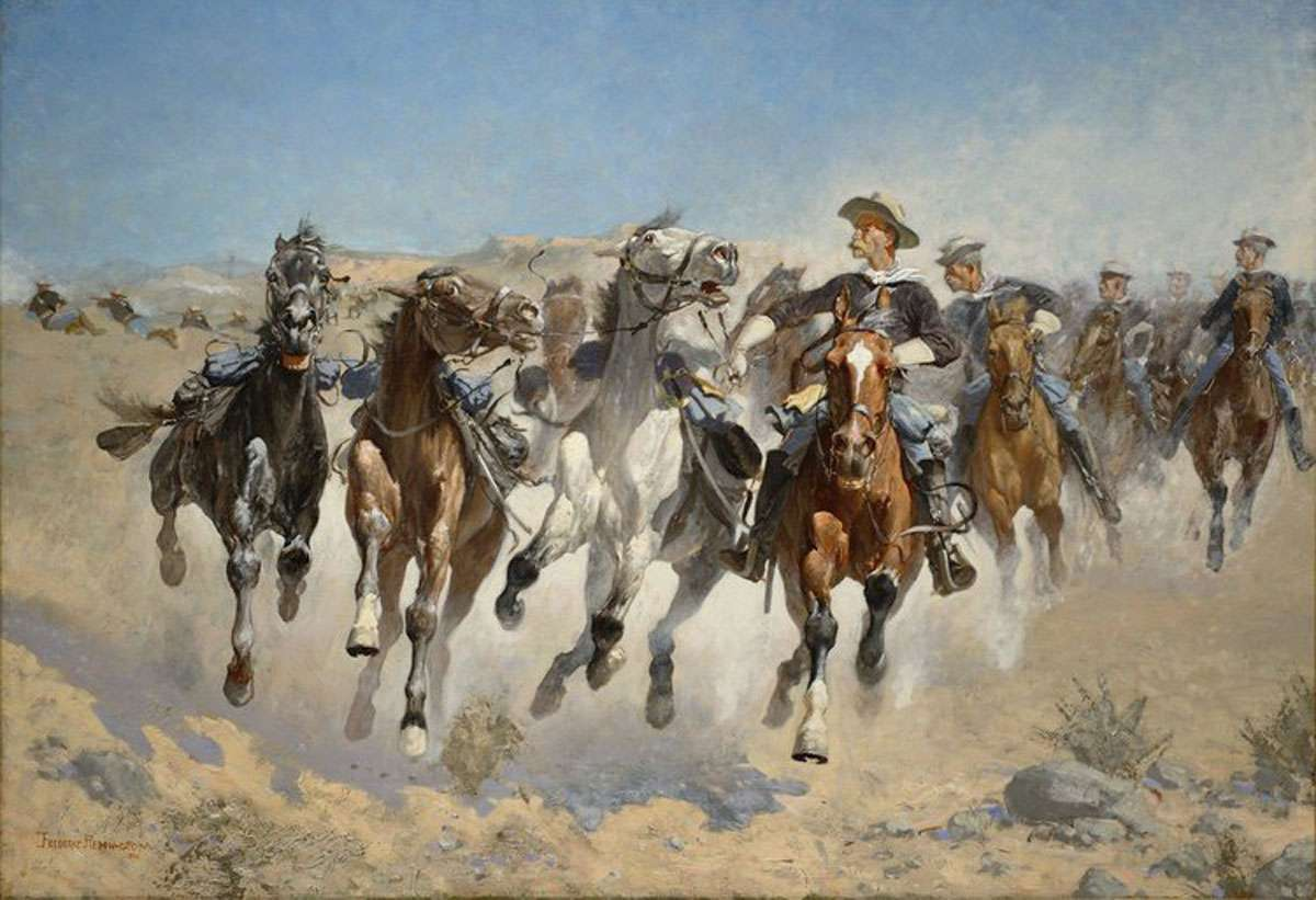 """Remington's """"Dismounted: The Fourth Troopers Moving the Led Horses."""""""