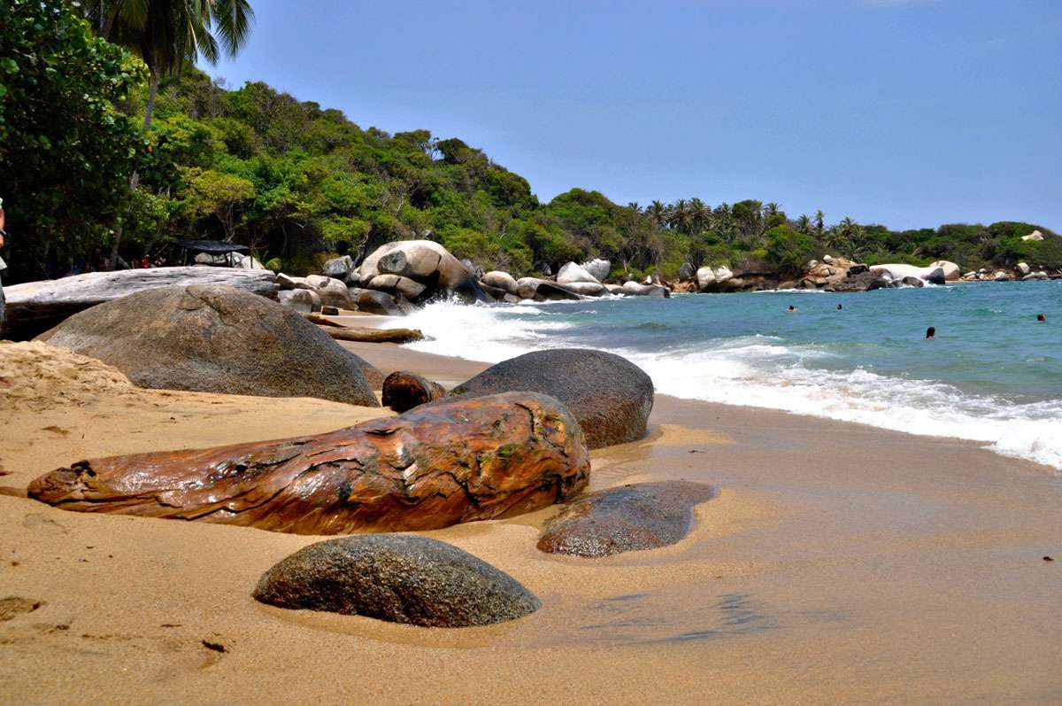 The beach at Tayrona National Park, Colombia. Photo: Meg Pier