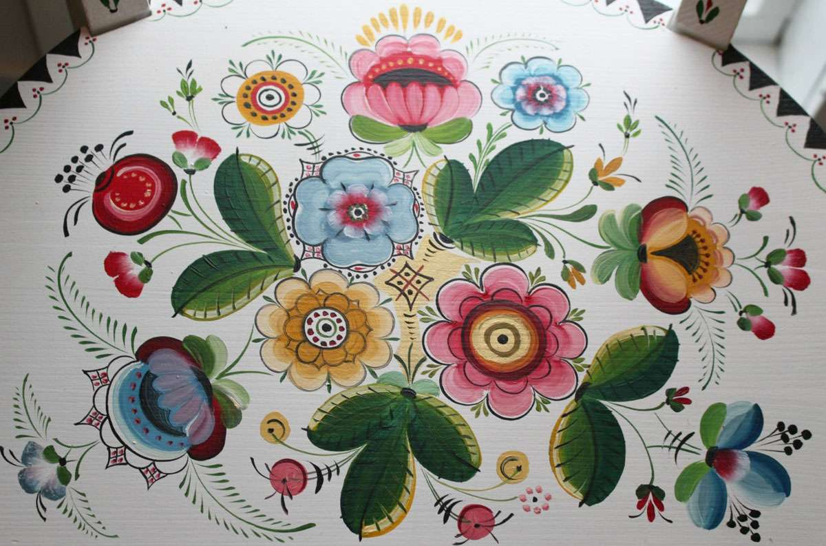 Rosemaling is a 'painted language' with motifs that are influenced by country life, nature. Photo: Meg Pier