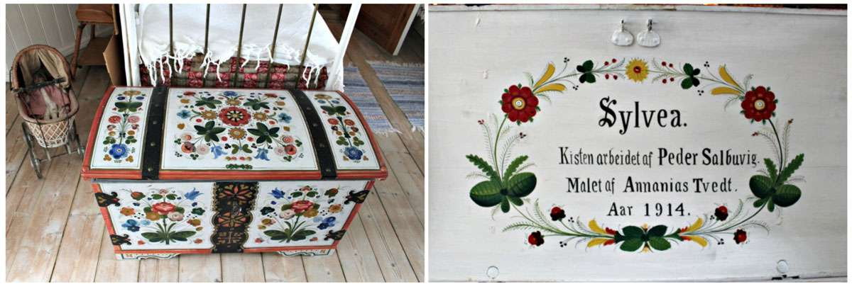 Torunn Rod Farsen's great-grandfather painted pieces throughout Ole Bull's house on the small island of Lysøen in Os. Bull was a beloved national hero in 19th century Norway. Photo: Meg Pier