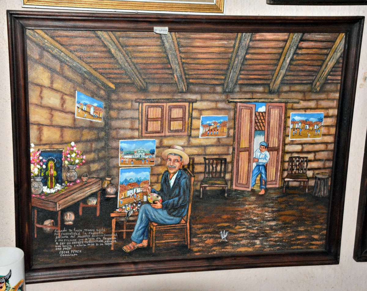 Artists Oscar Peron of Comalapa Guatemala paints the stories of his life; this work recalls the inspiration he got as a boy from the founder of Guatemala's naive art movement, Andrés Curruchich. Photo: Meg Pier
