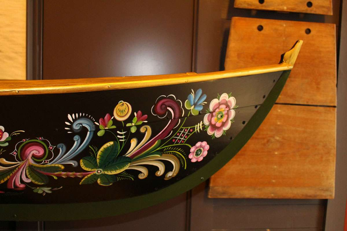 Oselvar boat is decorated with rosemaling, another tradition being upheld in Western Norway