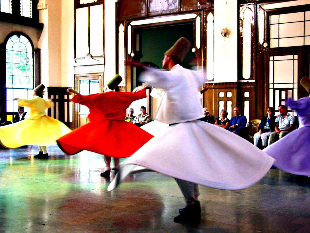 Followers of the Sufi Mysticism. Two different groups give concerts at the Sirkeci Railway Station in Istanbul on different days of the week. One hour session starts with a Sufi concert and is followed by the ceremony called Sema. Photo:  Vladimer Shioshvili