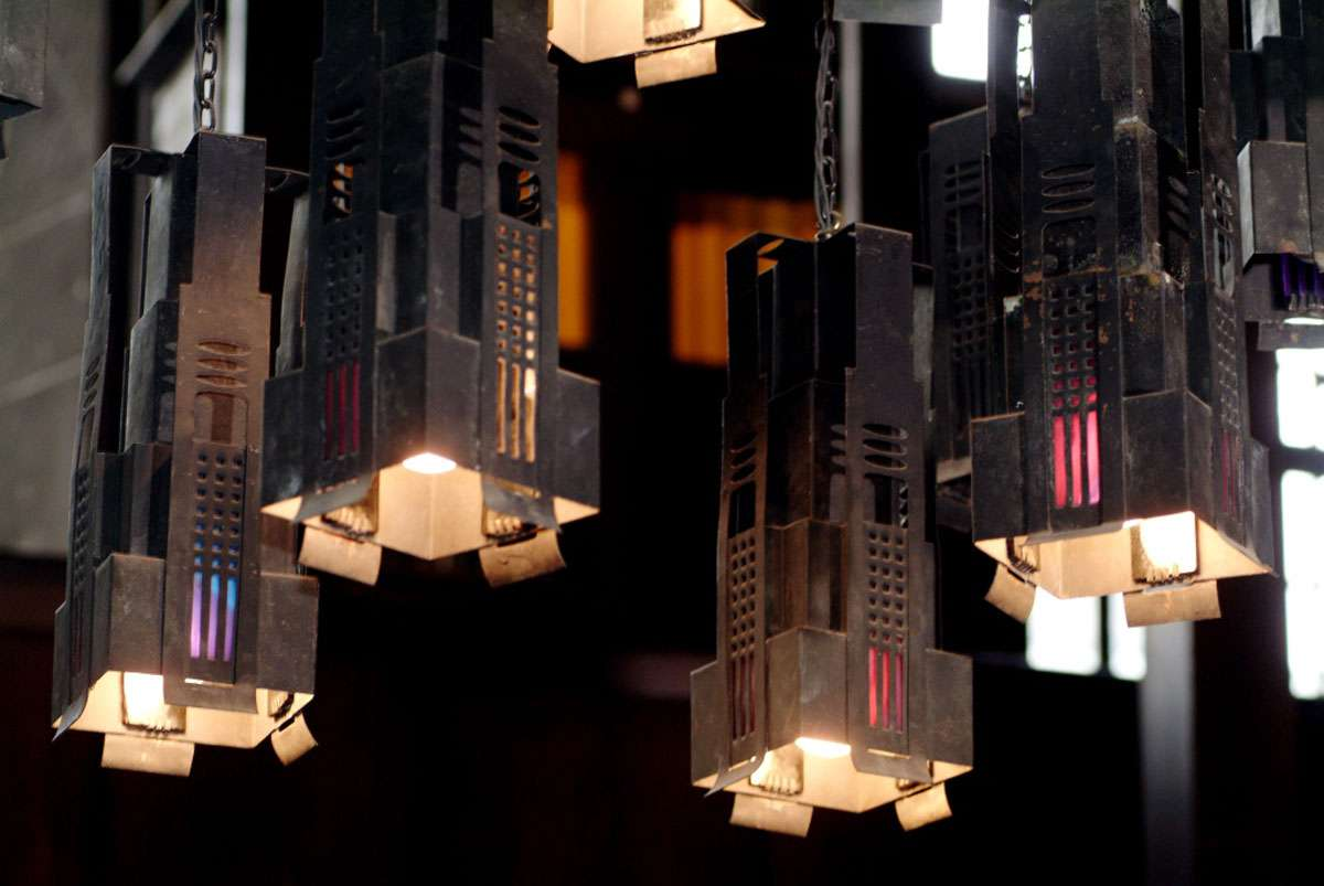 Library lights, Glasgow School of Art. Photo: Peter Trowles