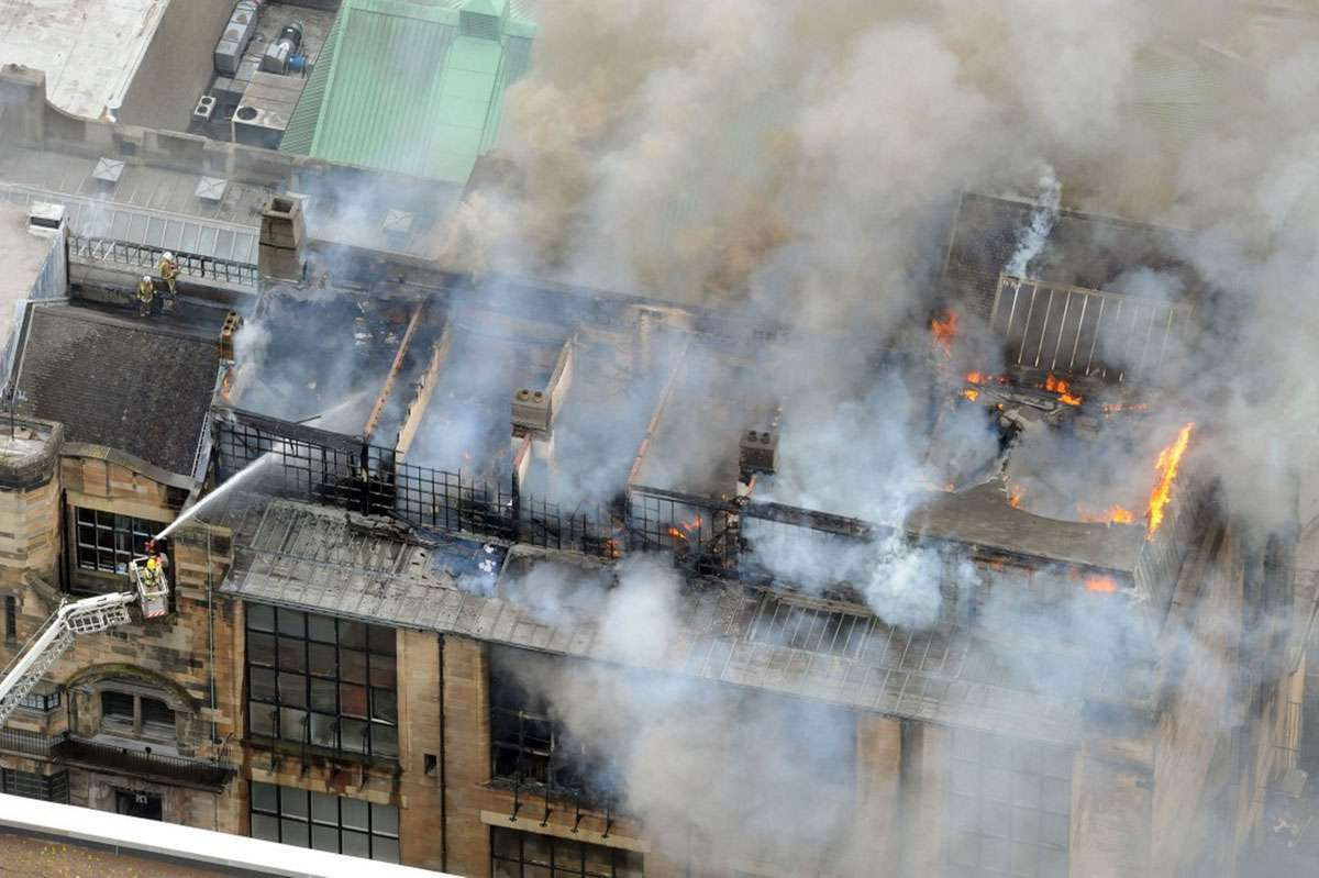 Glasgow School of Art fire, May 2014. Photo: Peter Trowles