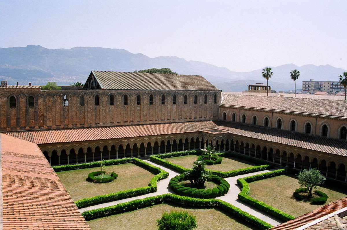 The cloister of Monreale Cathedral in Sicily
