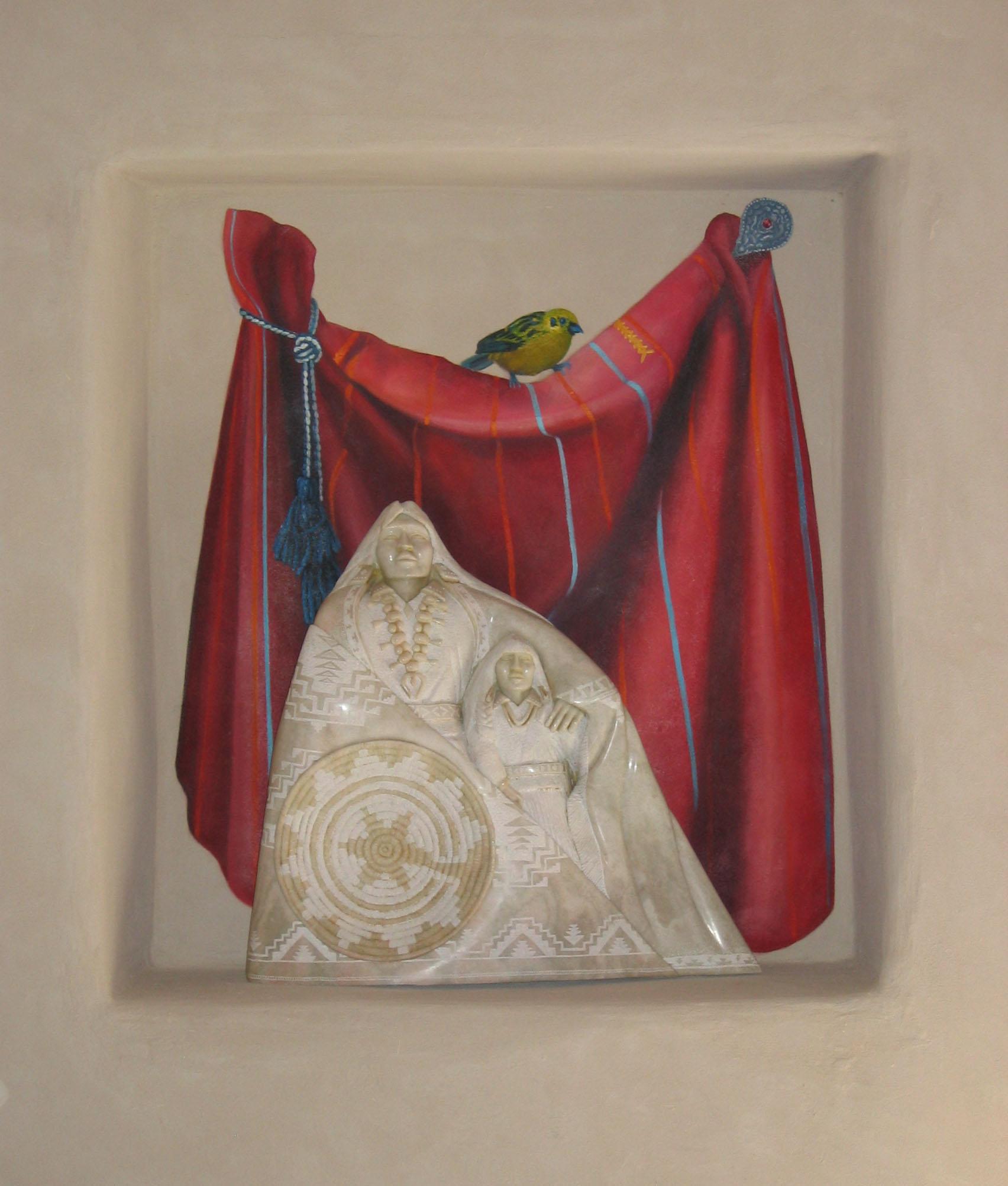 Trompe l'oeil cloth with bird in niche