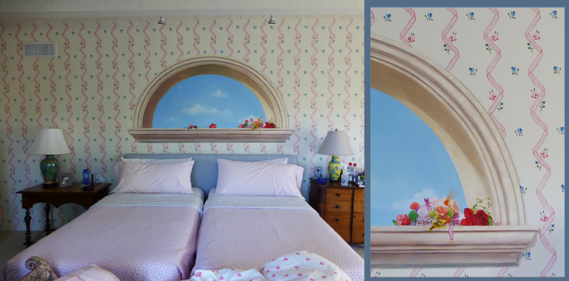 Hand-painted ribbon throughout room and mural