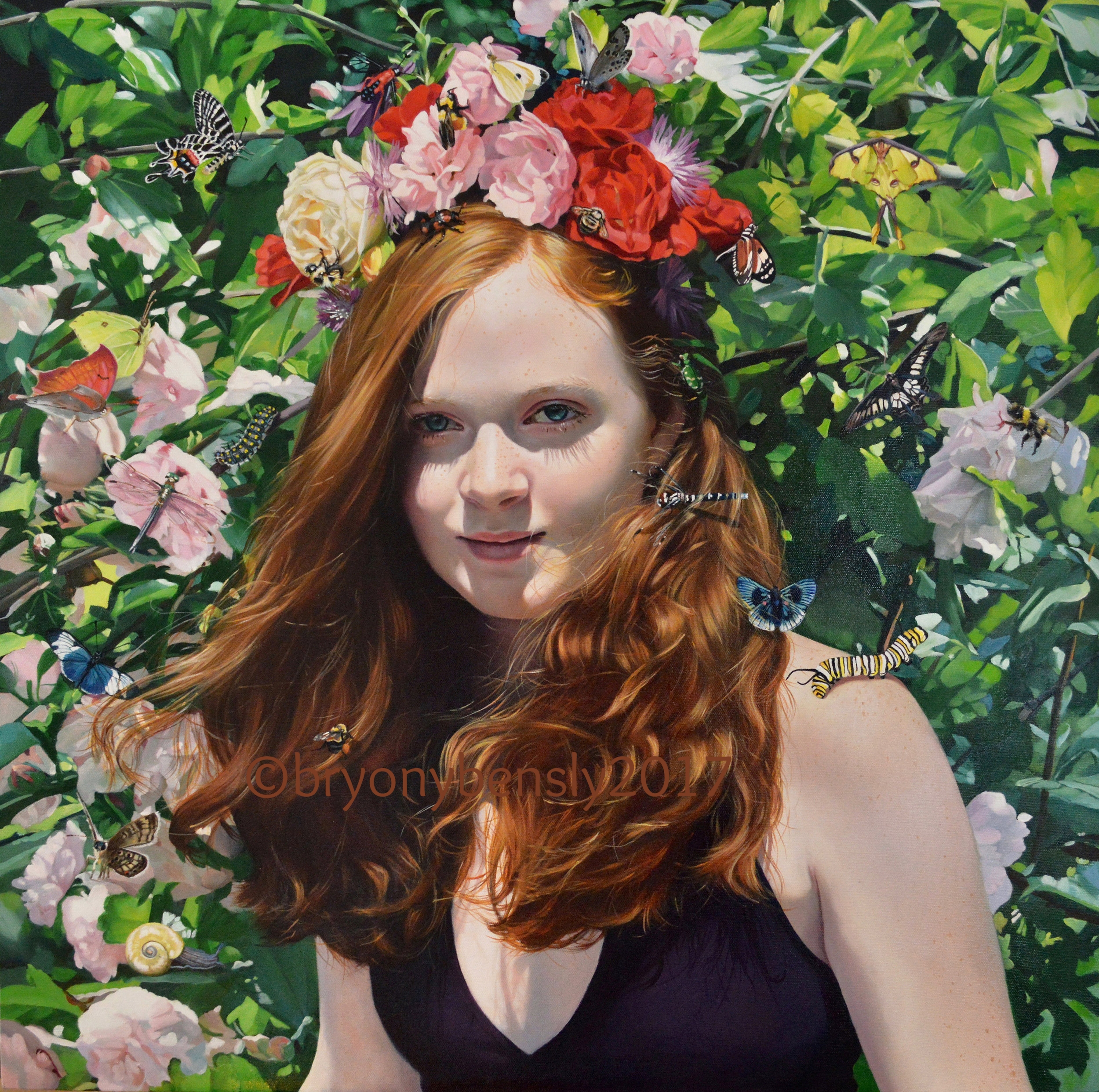 """When she wears flowers in her hair, 30 x 30 """", oil on canvas"""