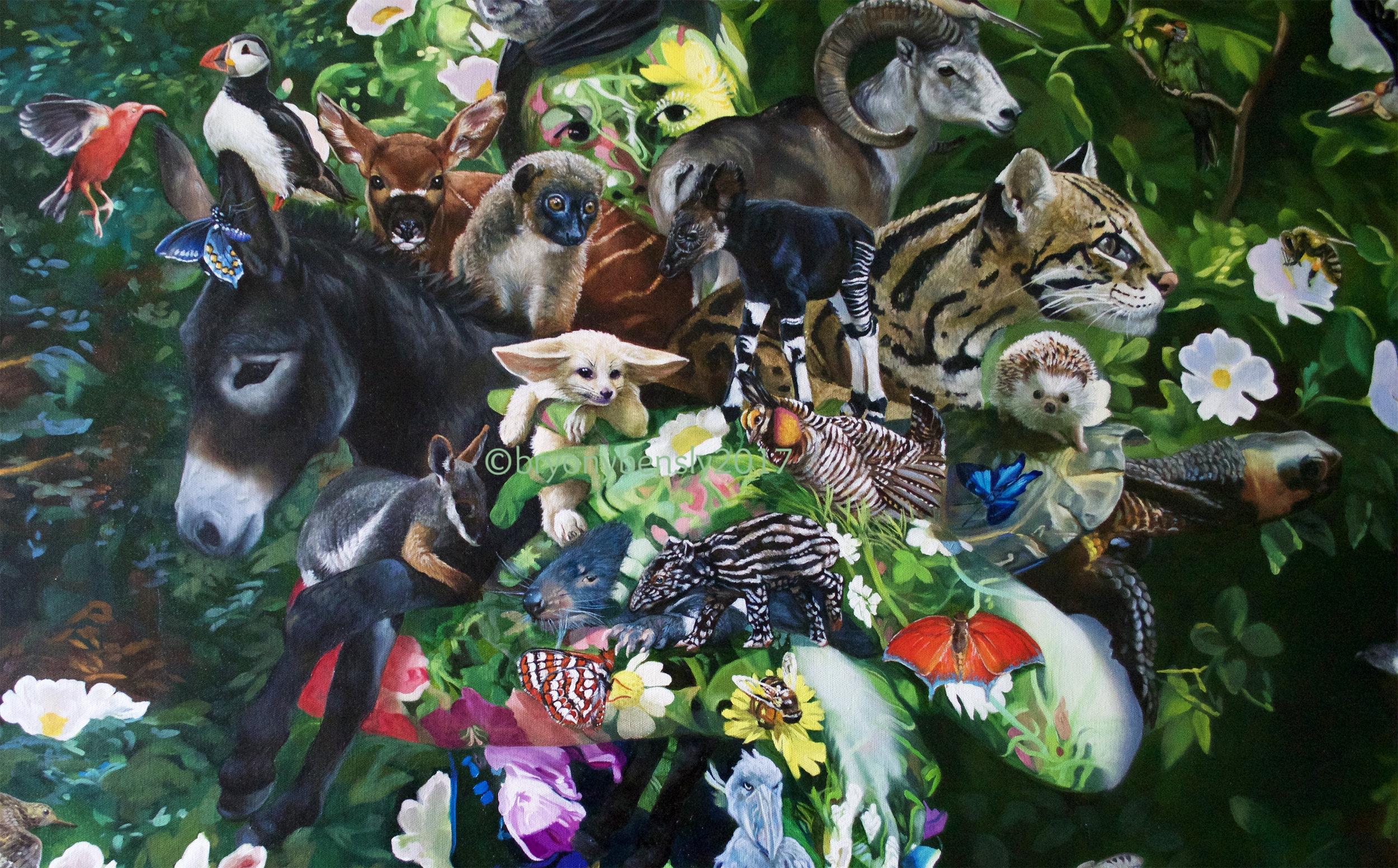 Gaia, detail, oil on canvas