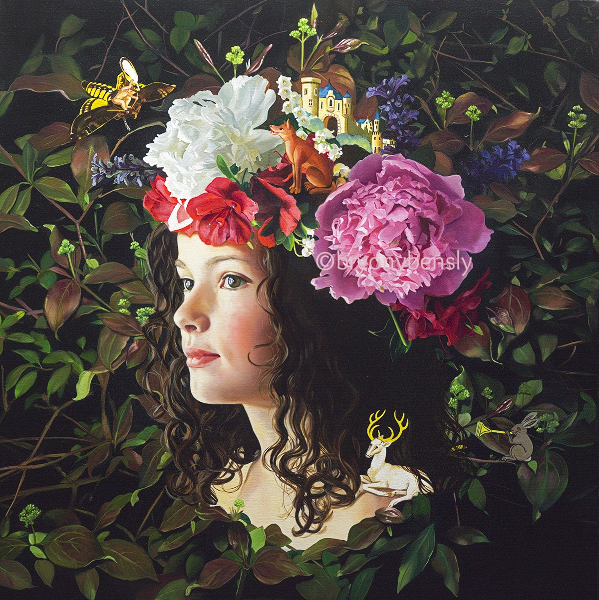 """The Green Man's Daughter, oil on canvas, 36 x 36"""""""