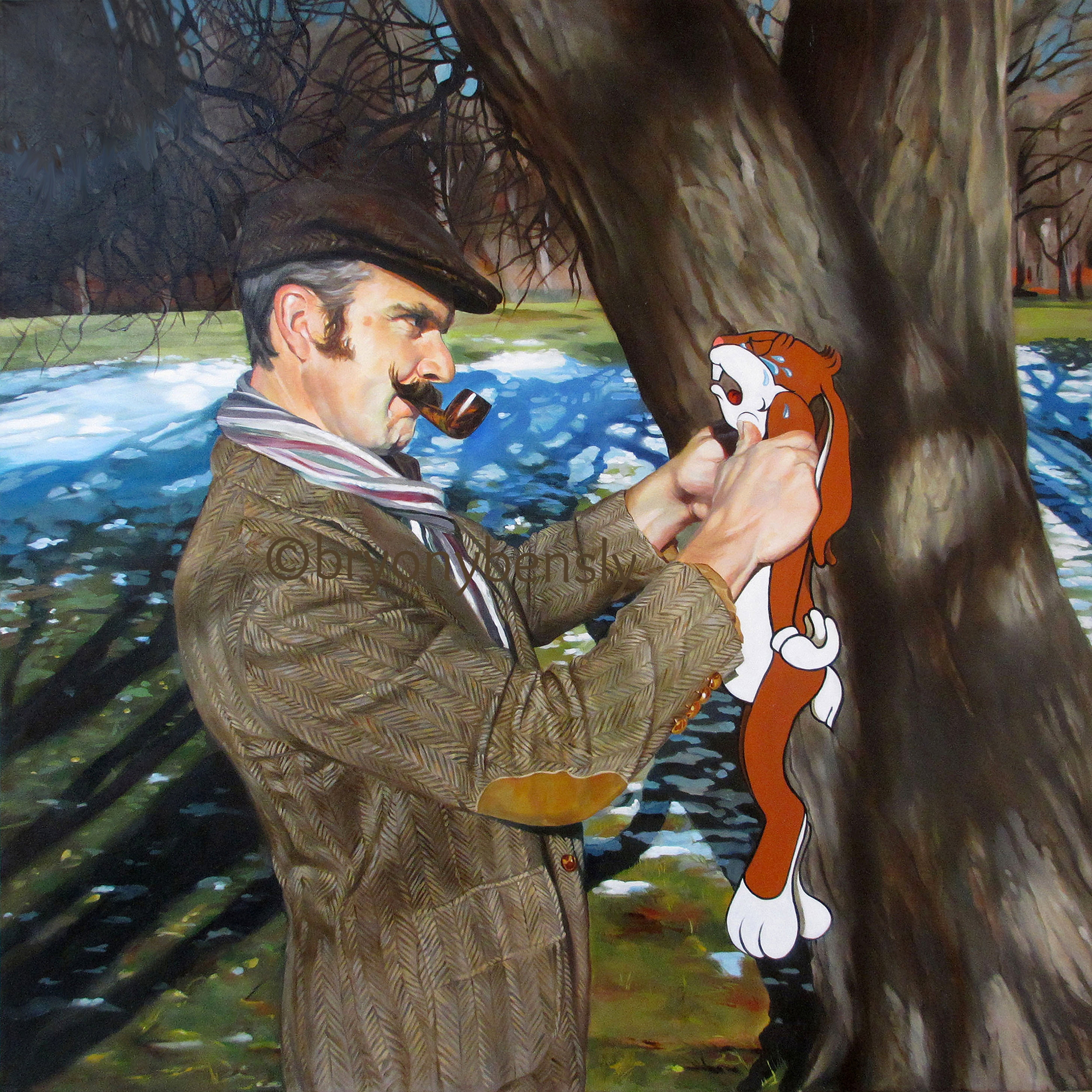 """To Catch a Rabbit, 36"""" x 36"""", oil on canvas"""