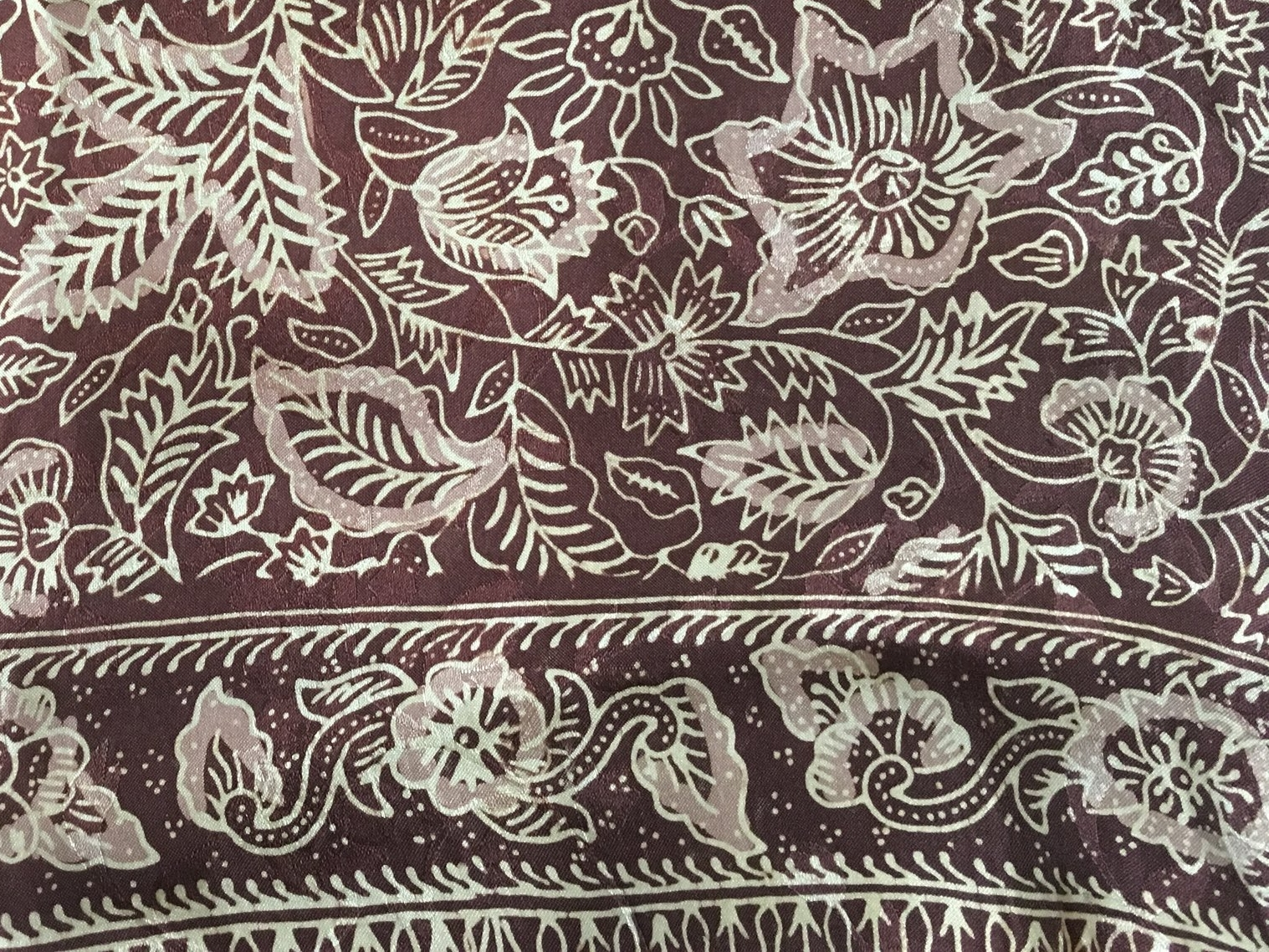 Silk batik from my own stash, bought while I lived in Jakarta and awaiting the inspiration to make it into something.