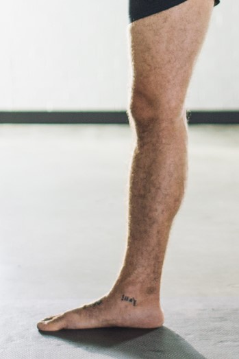 A straight engaged leg where the Tibia and femur are at similar angles, and supported by the heel against the floor.