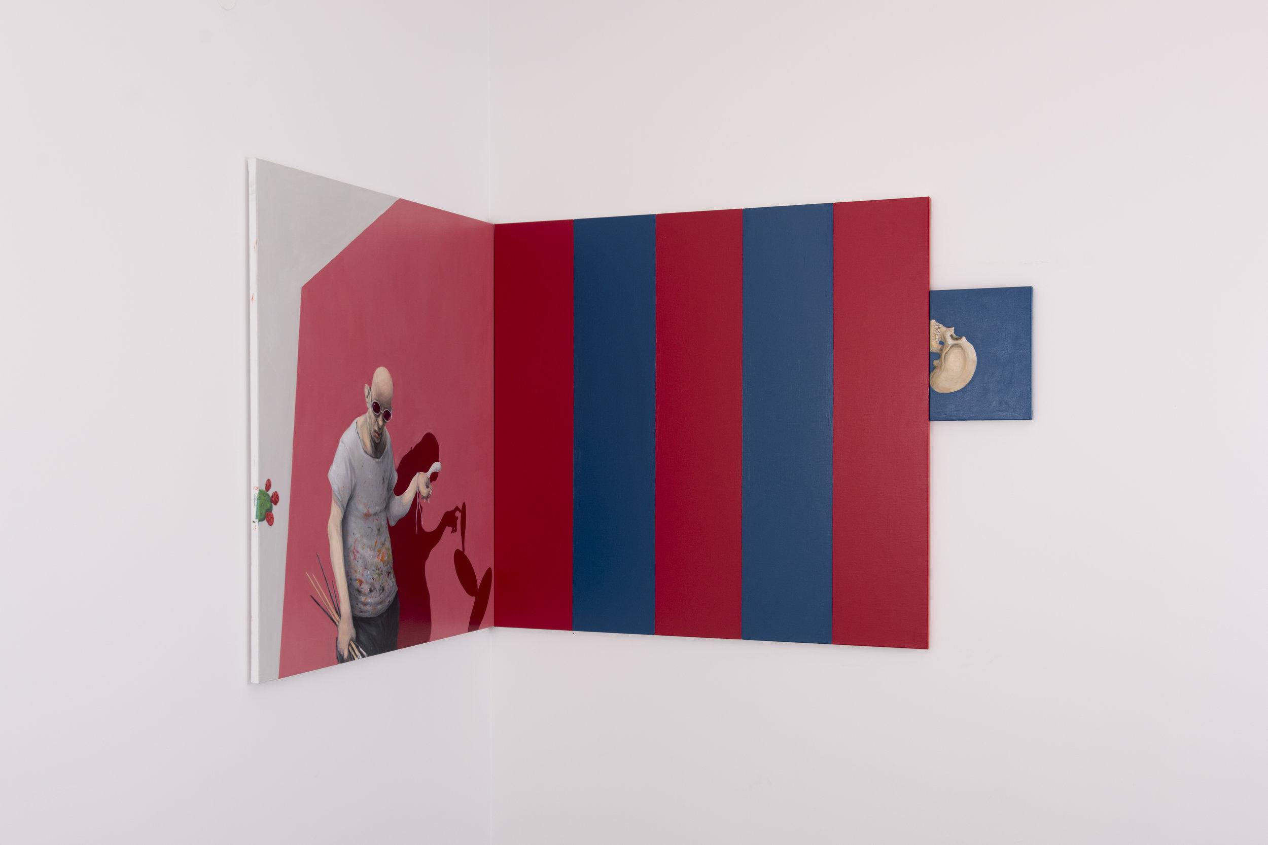 """I """"Nothing But a Bloody Circus"""" står en kunstmaler og grubler. I høyre bildekant sees en hodeskalle."""