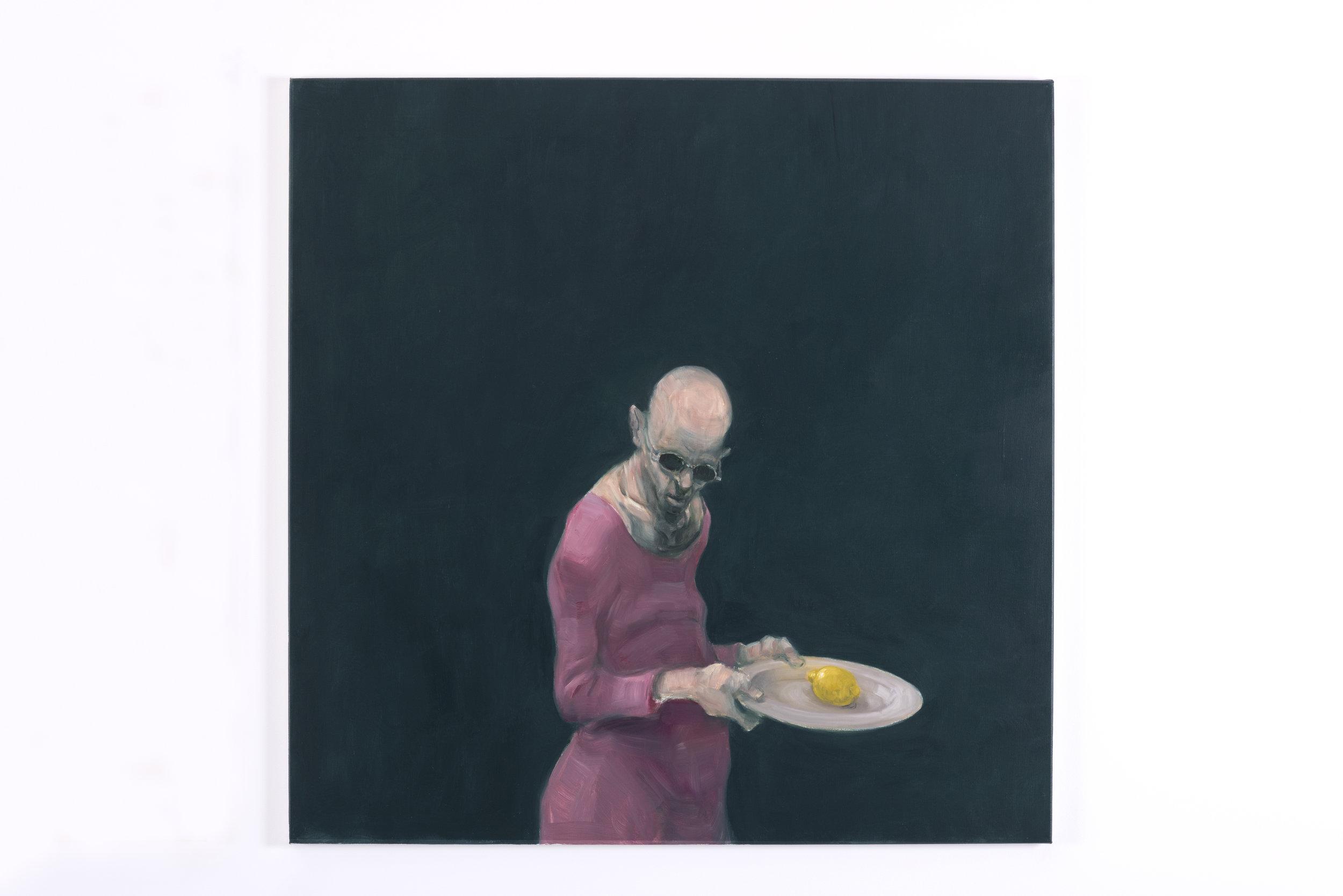 """- Jeg lager egne handlinger på en scene og får figurene til å utføre noe som ikke er åpenbart forståelig, sier Kvium. Bildet heter """"Simple Painting III""""."""