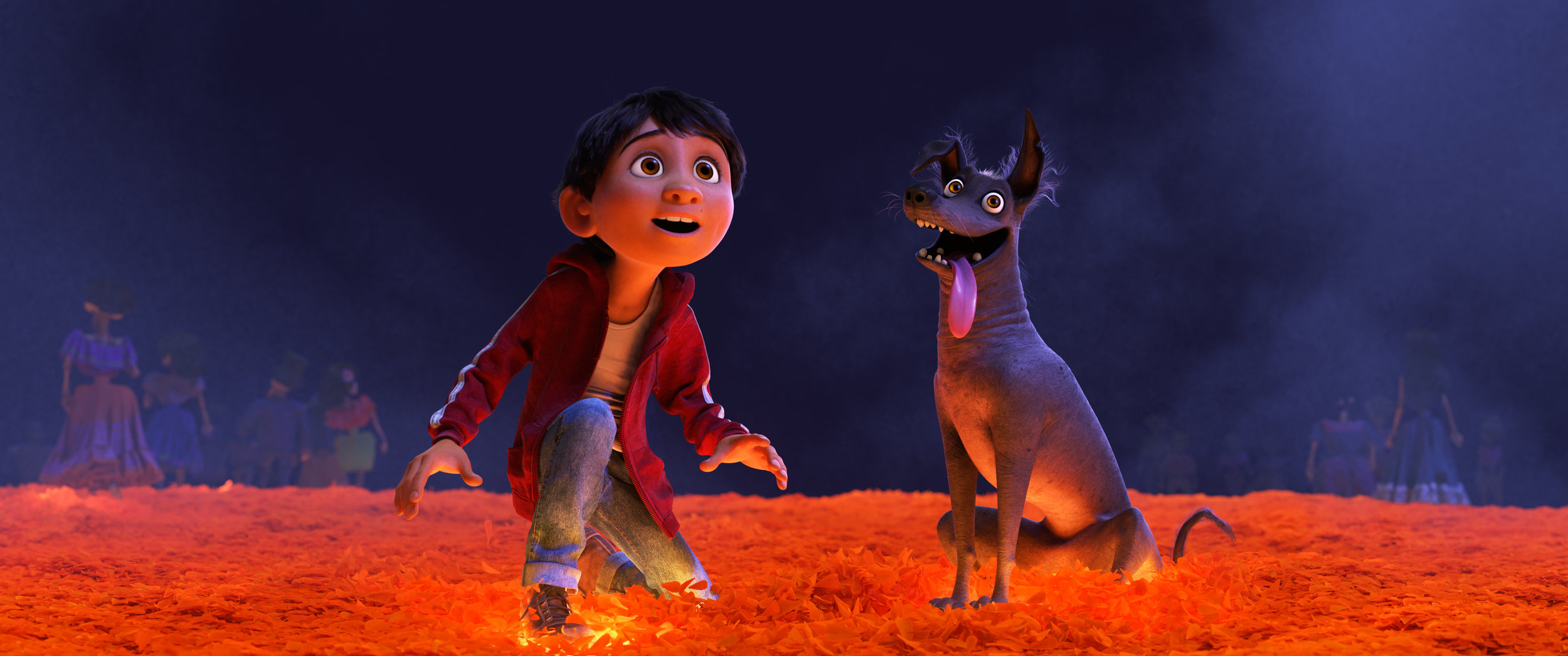 Miguel og hans hundevenn Dante på broen over til De dødes rike.