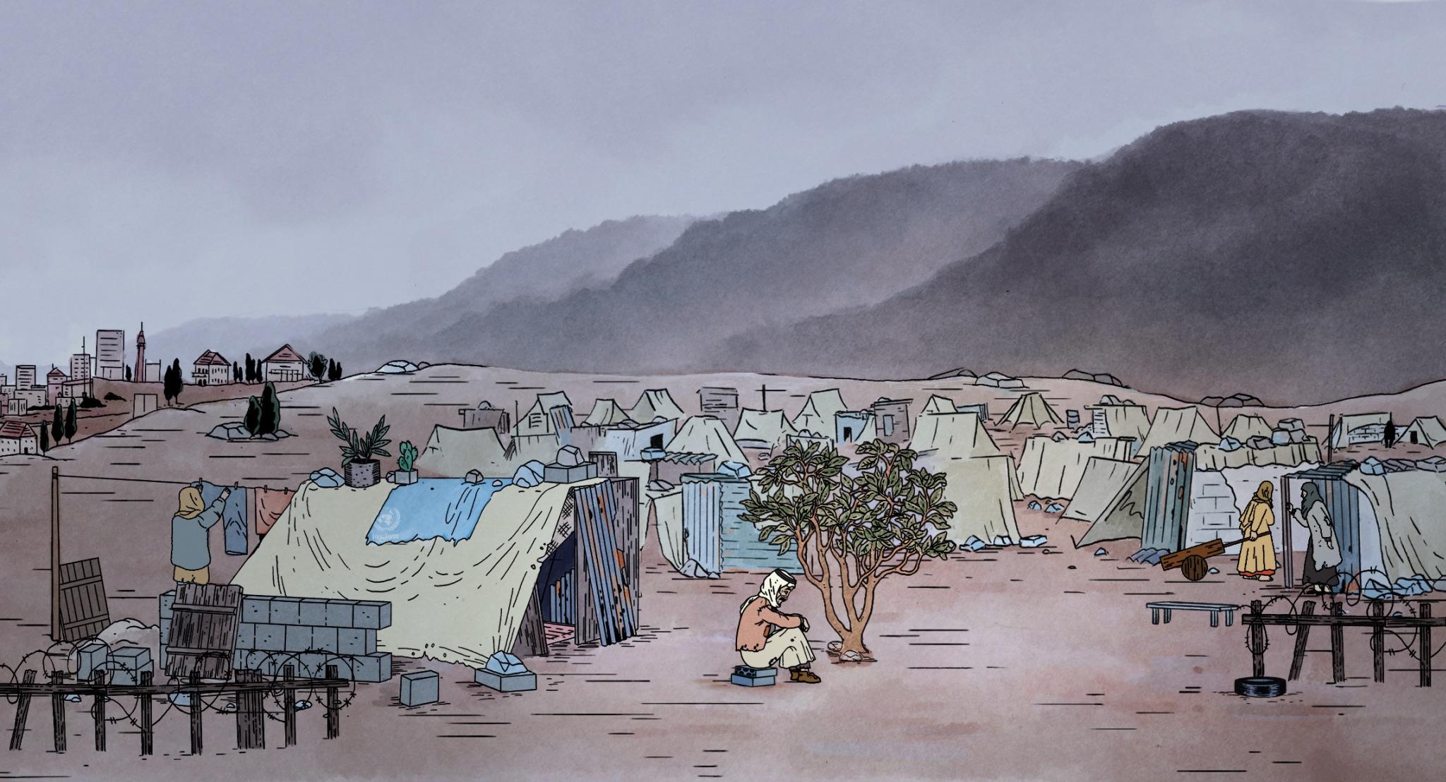 Det vokste opp telt på telt der oldefar Sidi slo seg ned etter fordrivelsen fra Palestina i 1948. Snart bodde det titusenvis av flyktninger i leiren Bourj al Baranej.