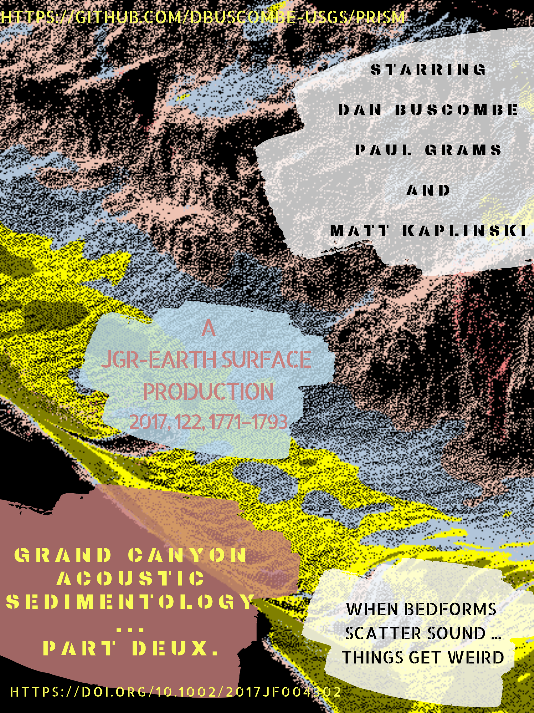 Buscombe, D., Grams, P. E., & Kaplinski, M. A. (2017). Compositional signatures in acoustic backscatter over vegetated and unvegetated mixed sand-gravel riverbeds. Journal of Geophysical Research: Earth Surface, 122, 1771–1793.  https://doi.org/10.1002/2017JF004302