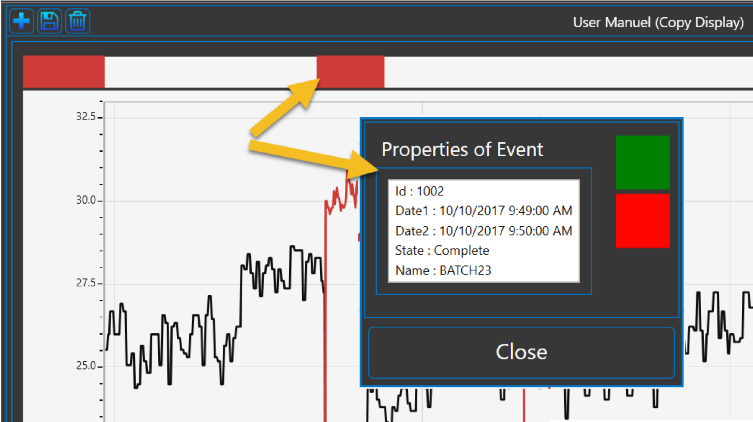 Event data presentation   Events need to be presented differently than time series, a new control had to be developed. This control show the documents by type on a timeline. Users can view the document properties using a contextual menu.
