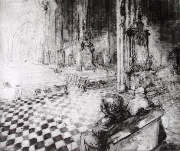 Paar in der Kirche, Radierung, 33x39