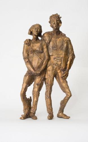Paar mit Hund, Bronze, 2010, 29 cm