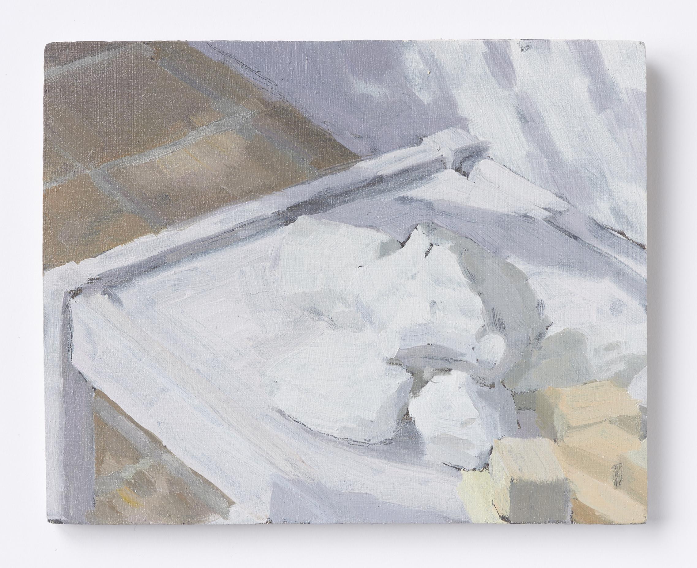 I rommet X, 2018, Oil on plywood, 20 x 15 cm