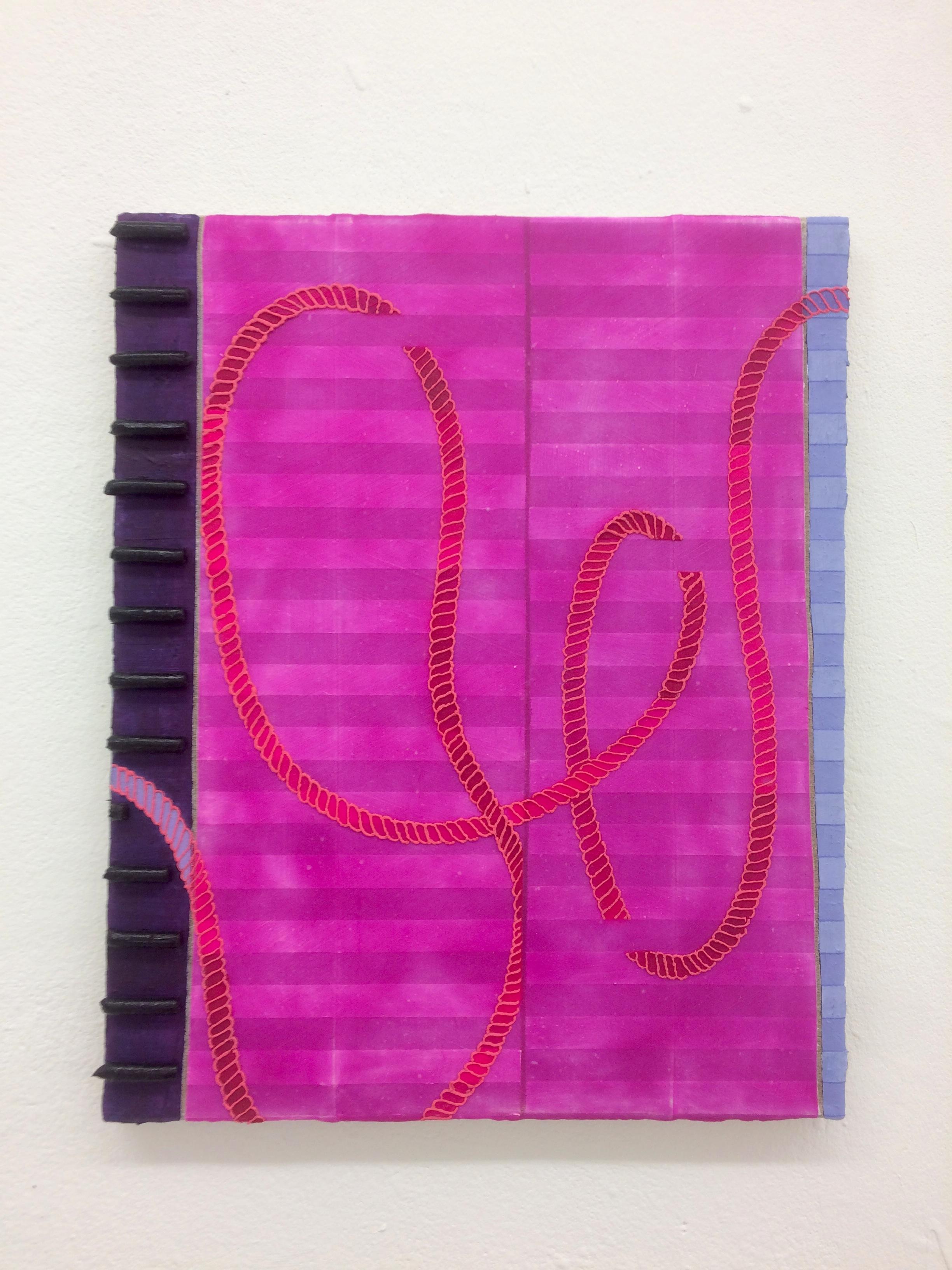 Ryo Kinoshita  Raum der Seile (Room of Ropes), 2018 Oil, Spray, Pigment on Canvas 45 x 56 cm SOLD