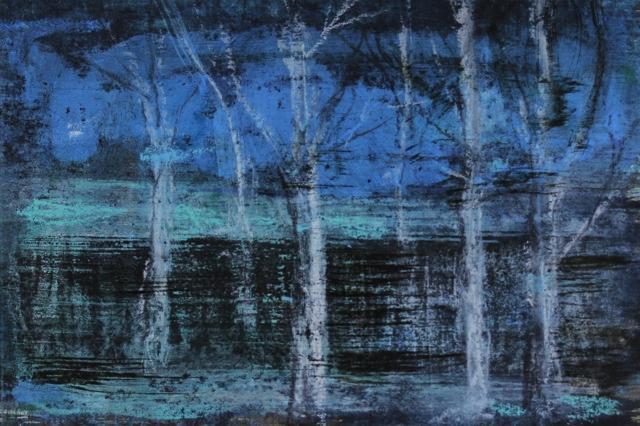 Bäume, 2017 Ölpastell und Tinte auf Papier 11,5 x 17 cm