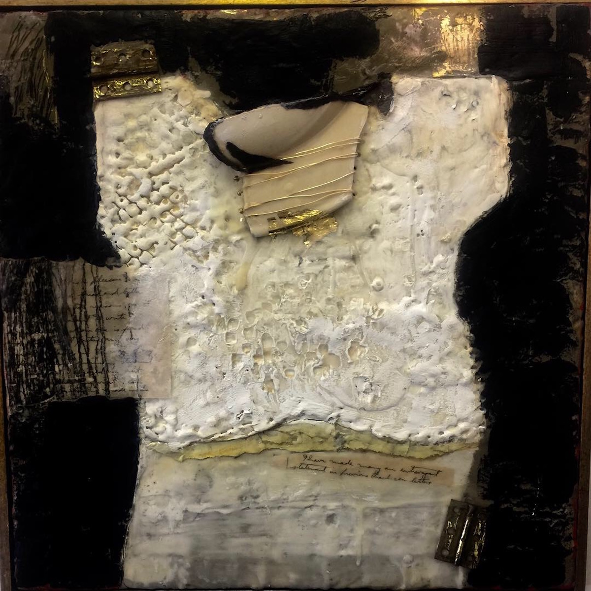"White Chemise with Gold Belt II , encaustic with gold foil, 18"" x 18"", 2019"