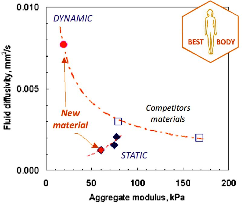 BEST BODY: Cartilage degradation  seriously affects everyday body functionality. Its regeneration is difficult and requires specific biomaterials tailoring.   BEST allowed development  of new scaffolds with biomechanical and fluidic properties polarization for substantially better hyaline regeneration.   OUTCOME : new optimized scaffolds are now being deployed in clinical practice.
