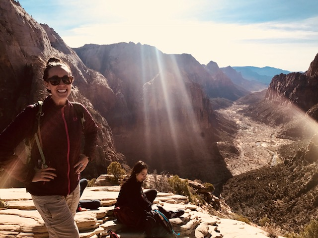 Top of Angels Landing down into Zion Canyon