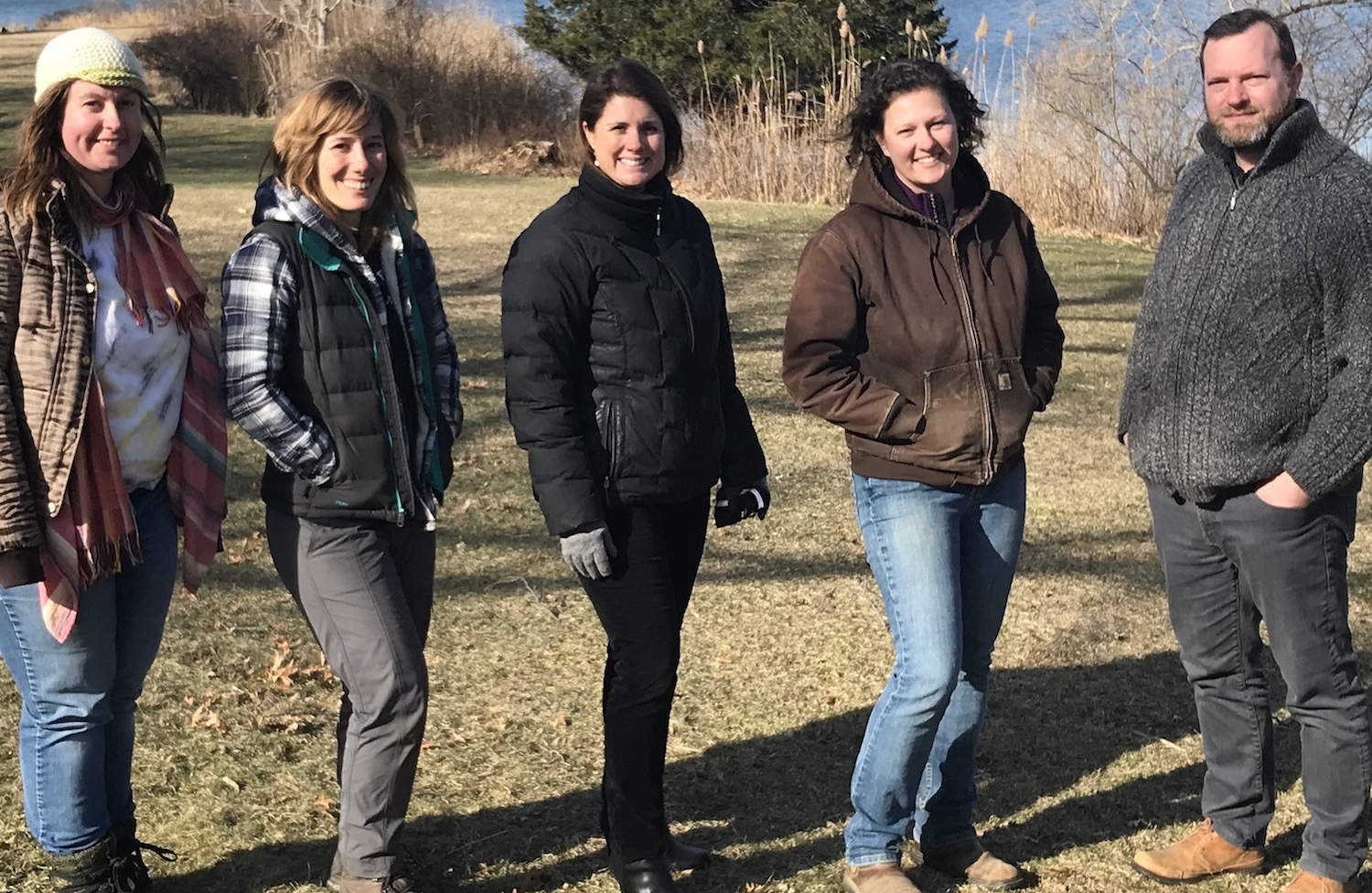 Creekside at The Manor House (left to right): Lily Dougherty-Johnson and Cristina Cosentino (Acabonac Farms), Tracy McCarthy and Jocelyn Craig (Sylvester Manor)and Stephen Skrenta (Acabonac Farms).