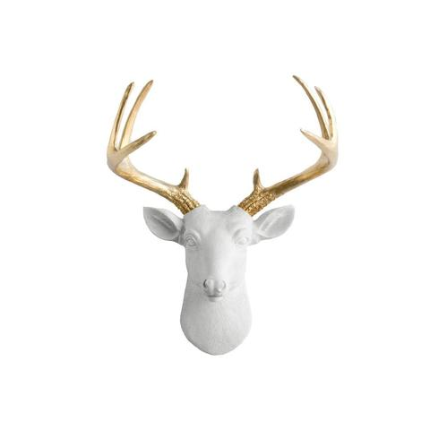 Resin Gold Horn Deer Head