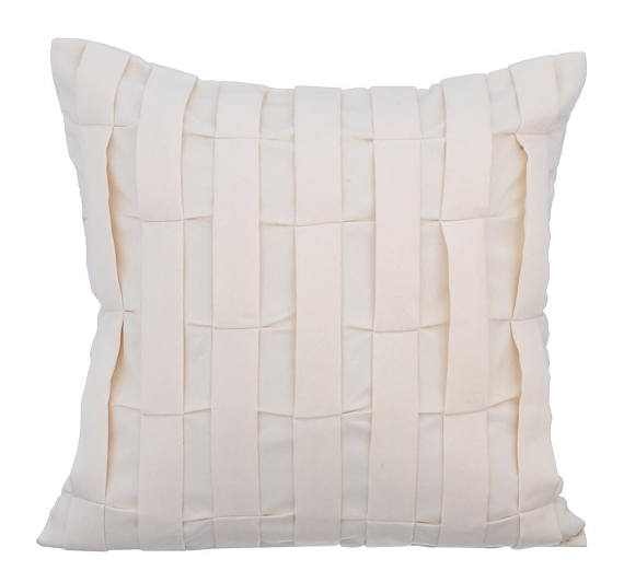 Cream Textured throw Pillow