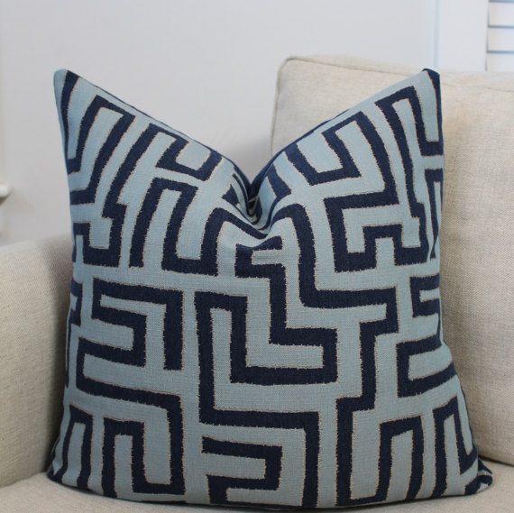 Navy throw pillow