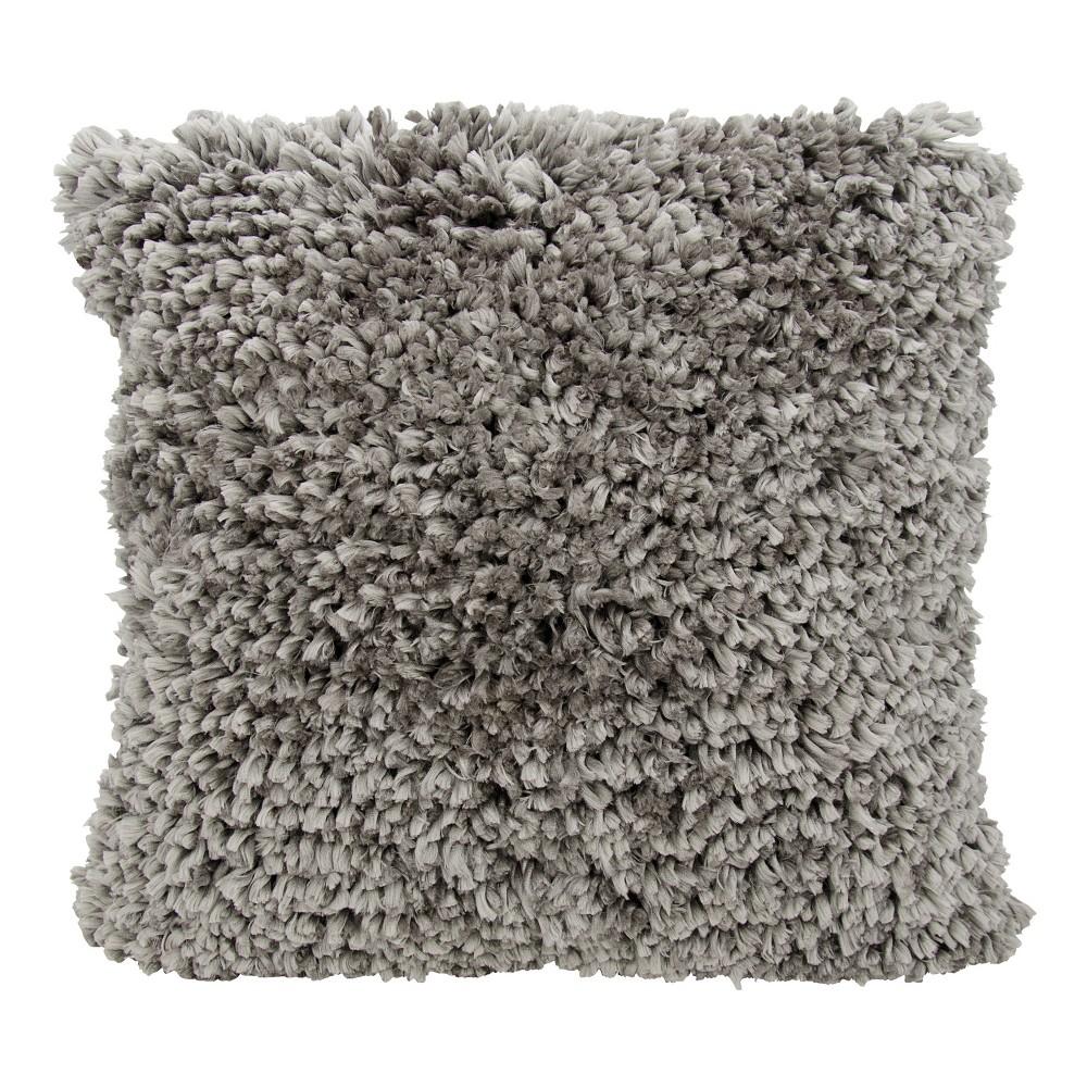 Grey Textured Throw Pillow