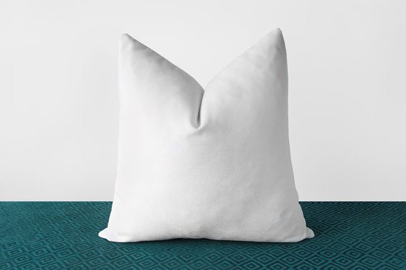 White Velvet Throw Pillow