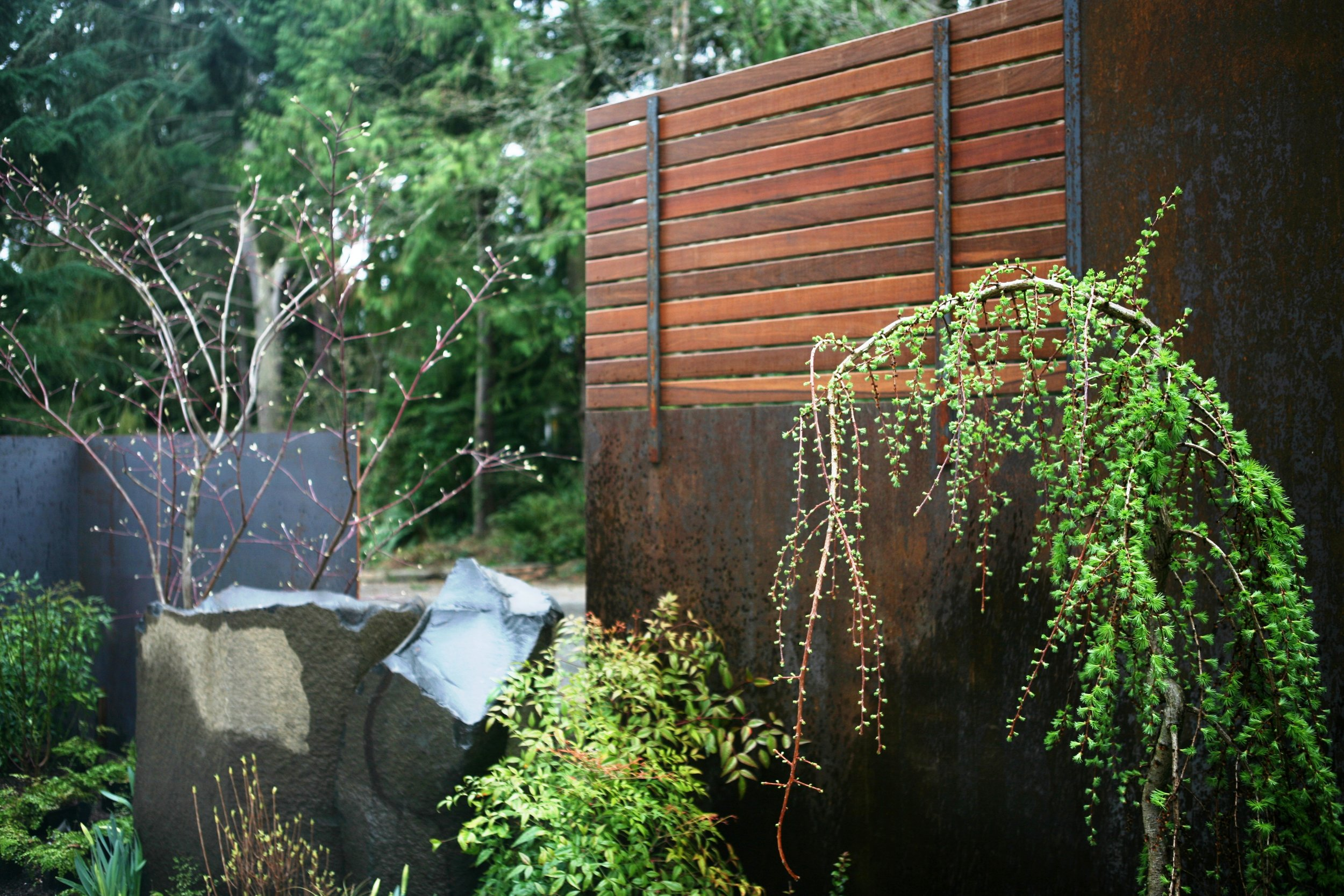 There is a blend of nature,engineering and art in this garden. While the stone and metal is very strong, it is balance with delicate-looking plants (they are actually quite hardy).  The metal sections in the photo to the right had to be set in concrete in such a way that the gap between them was consistent and straight.  The precise placement of extremely heavy stone and metal components of this garden are a good example of design and implementation coming together.