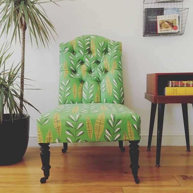 Grist & Twine Upholstery: Victorian button backed nursing chair upholstered in green patterned MissPrint fabric