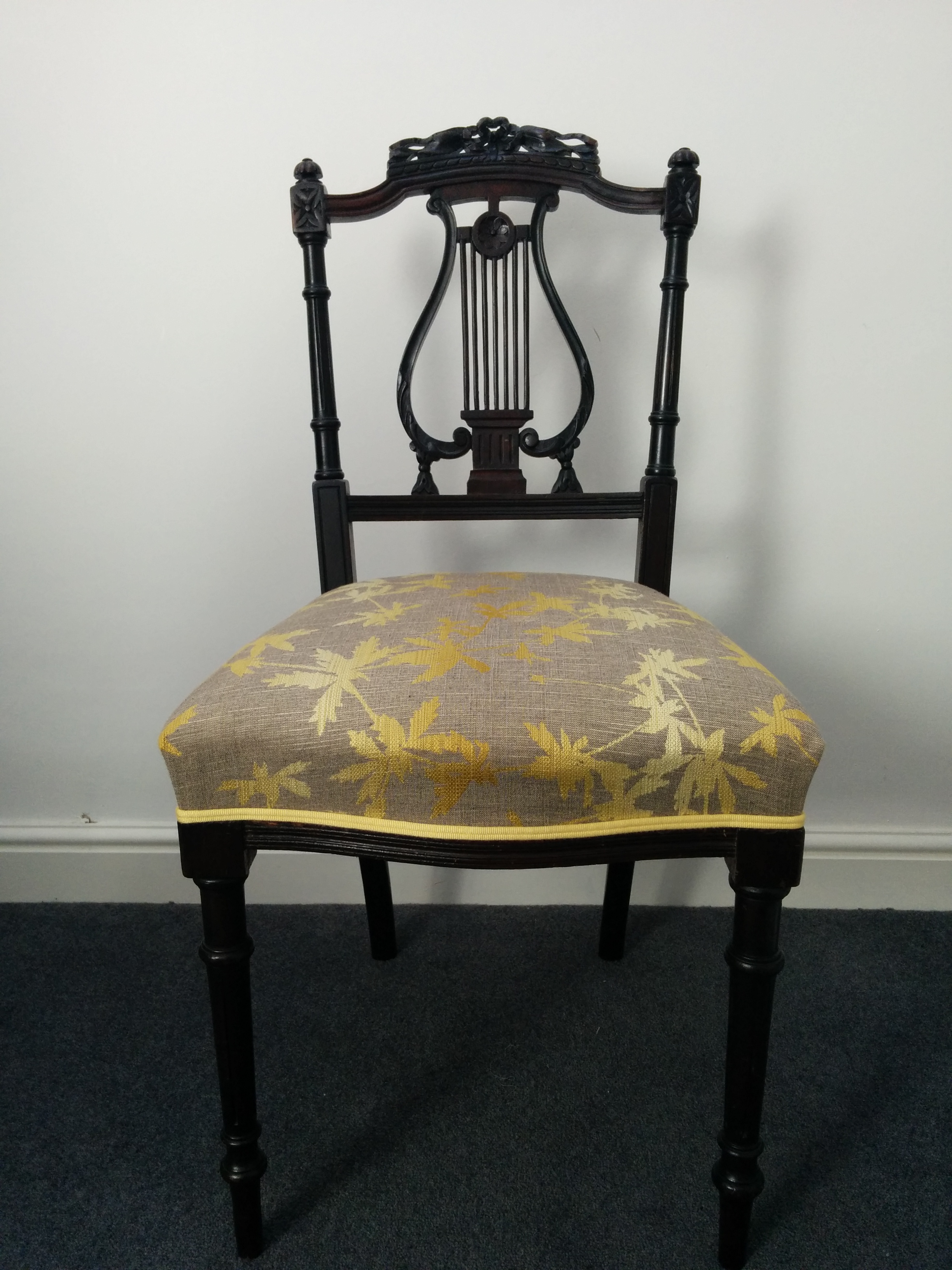Grist & Twine Upholstery: Victorian lyre-backed chair reupholstered in Clarissa Hulse fabric